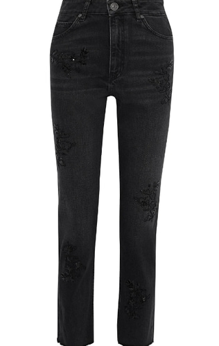 Sandro high-rise straight-leg pants