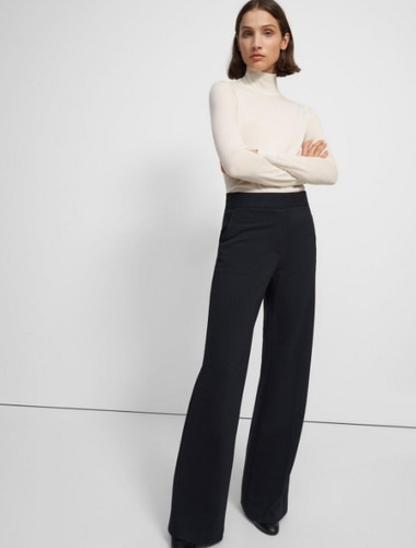 theory Talbert Pull-On Pant in Striped Viscose Knit