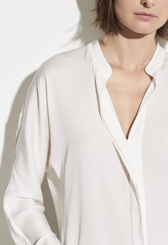 Vince Double Front Blouse in Off White